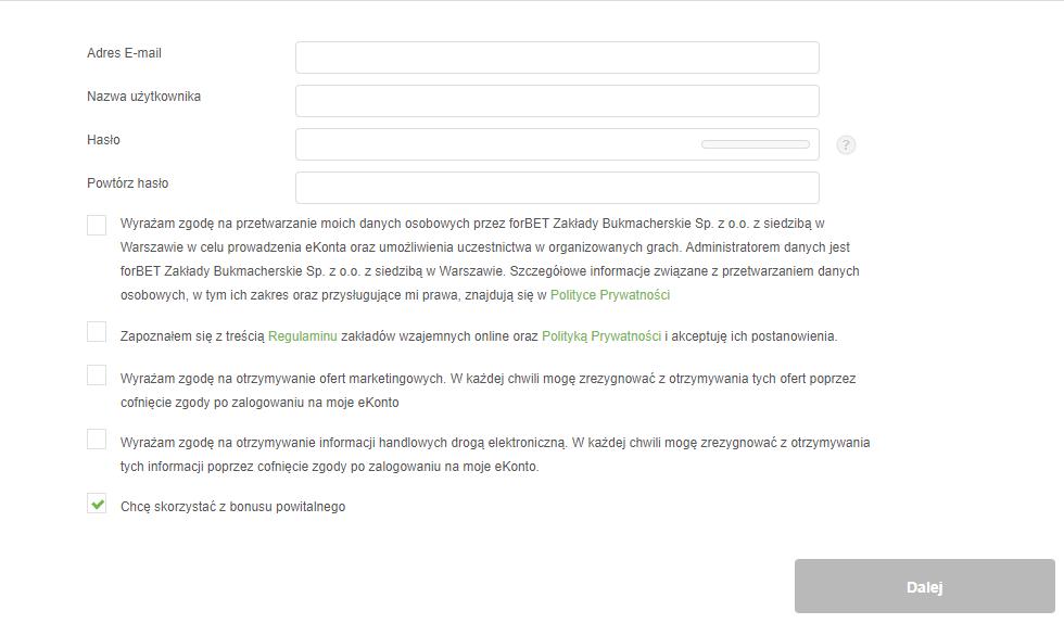 Rejestracja w Forbet